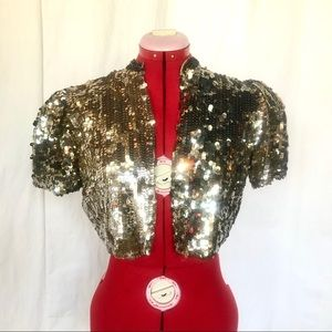 Adorable Sparkly Vintage Gold Sequin Top Size S